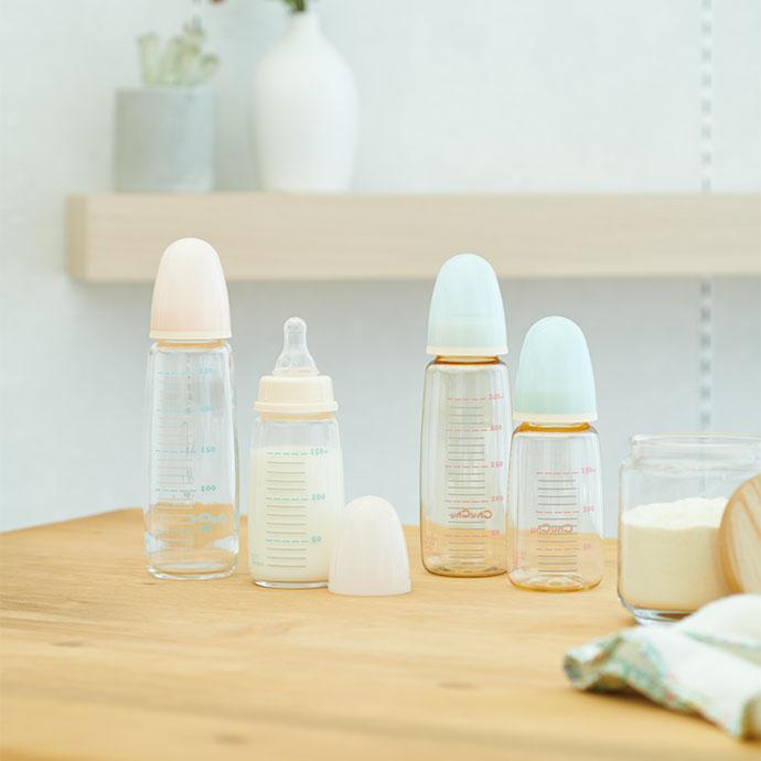 スリムタイプ耐熱ガラス製 哺乳びん 製品イメージ